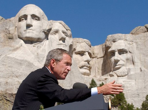 bush visits mt rushmore mount