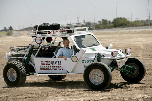 bush visits border patrol yuma arizona dune buggy