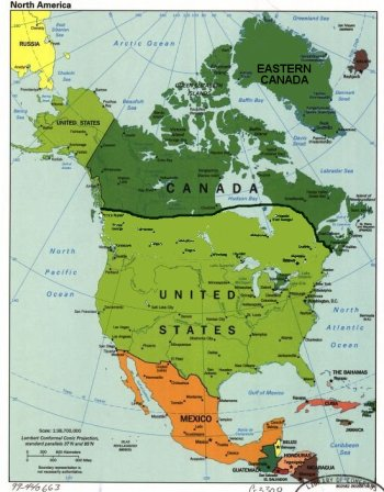 canadian north america map