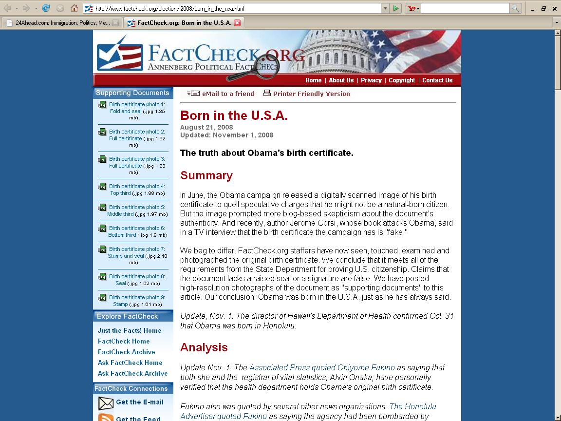Factchecks born in the usa as of december 7 2008 24ahead included below is the content of the factcheck page retrieved from factcheckelections 2008bornintheusaml on december 7 2008 aiddatafo Images