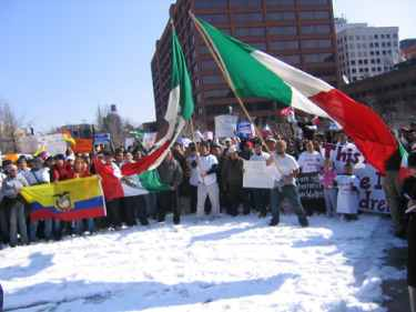 mexican flag on independence mall liberty bell