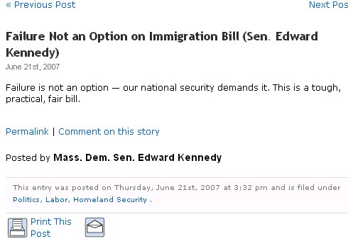 teddy kennedy immigration bill